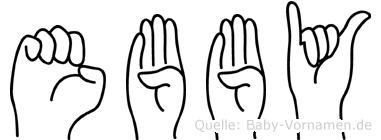 Ebby im Fingeralphabet der Deutschen Gebärdensprache