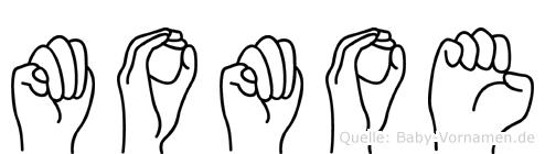 Momoe im Fingeralphabet der Deutschen Gebärdensprache