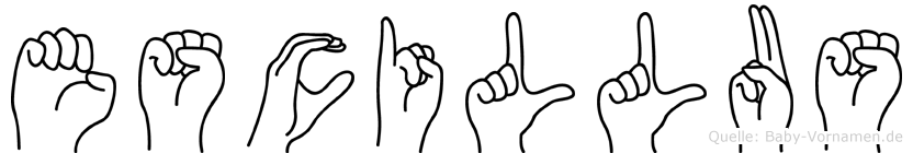Escillus im Fingeralphabet der Deutschen Gebärdensprache