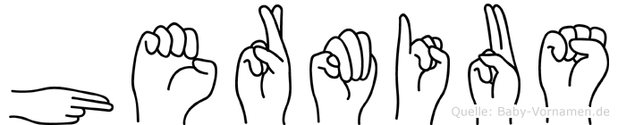 Hermius im Fingeralphabet der Deutschen Gebärdensprache