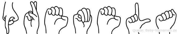 Premela im Fingeralphabet der Deutschen Gebärdensprache