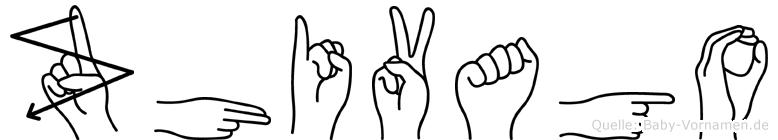 Zhivago im Fingeralphabet der Deutschen Gebärdensprache