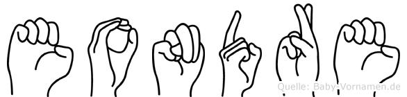 Eondre im Fingeralphabet der Deutschen Gebärdensprache