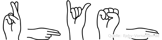 Rhysh im Fingeralphabet der Deutschen Gebärdensprache