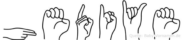 Hediye im Fingeralphabet der Deutschen Gebärdensprache