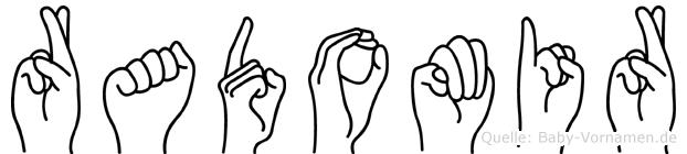 Radomir im Fingeralphabet der Deutschen Gebärdensprache