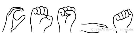 Cesha im Fingeralphabet der Deutschen Gebärdensprache