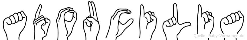 Adoucilia im Fingeralphabet der Deutschen Gebärdensprache