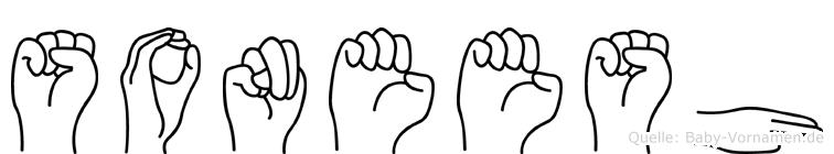 Soneesh im Fingeralphabet der Deutschen Gebärdensprache