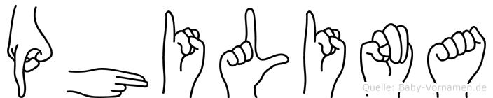 Philina im Fingeralphabet der Deutschen Gebärdensprache