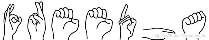 Freedha im Fingeralphabet der Deutschen Gebärdensprache