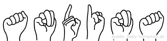 Andina im Fingeralphabet der Deutschen Gebärdensprache