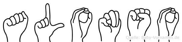 Alonso im Fingeralphabet der Deutschen Gebärdensprache