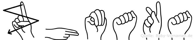 Zhmaka im Fingeralphabet der Deutschen Gebärdensprache