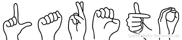 Lareto im Fingeralphabet der Deutschen Gebärdensprache