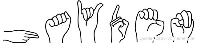Hayden im Fingeralphabet der Deutschen Gebärdensprache