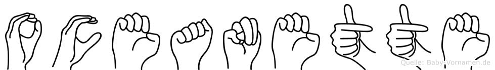 Oceanette im Fingeralphabet der Deutschen Gebärdensprache