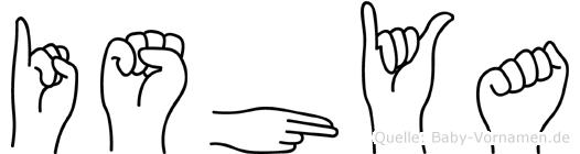 Ishya in Fingersprache für Gehörlose