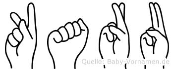Karu im Fingeralphabet der Deutschen Gebärdensprache