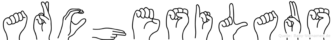 Archesilaus im Fingeralphabet der Deutschen Gebärdensprache