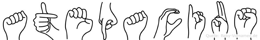 Atepacius im Fingeralphabet der Deutschen Gebärdensprache