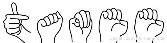 Tamee im Fingeralphabet der Deutschen Gebärdensprache