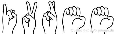 Ivree im Fingeralphabet der Deutschen Gebärdensprache