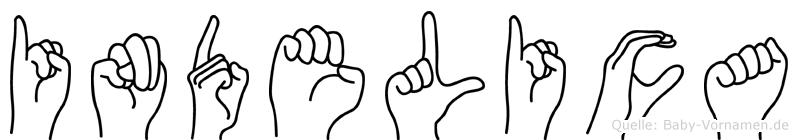 Indelica im Fingeralphabet der Deutschen Gebärdensprache