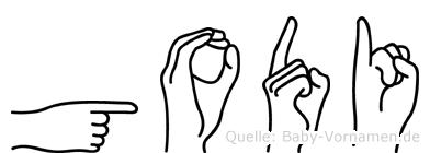 Godi im Fingeralphabet der Deutschen Gebärdensprache