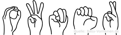 Owner im Fingeralphabet der Deutschen Gebärdensprache