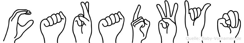 Caradwyn im Fingeralphabet der Deutschen Gebärdensprache