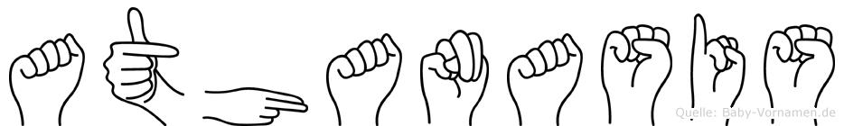 Athanasis im Fingeralphabet der Deutschen Gebärdensprache