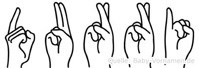 Durri im Fingeralphabet der Deutschen Gebärdensprache