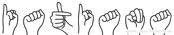Iatiana im Fingeralphabet der Deutschen Gebärdensprache