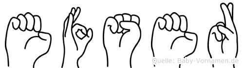Efser in Fingersprache für Gehörlose