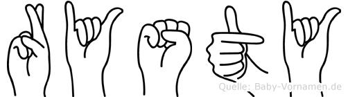 Rysty im Fingeralphabet der Deutschen Gebärdensprache