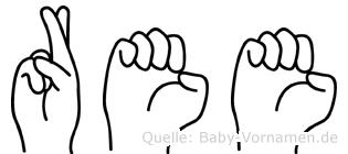 Ree im Fingeralphabet der Deutschen Gebärdensprache