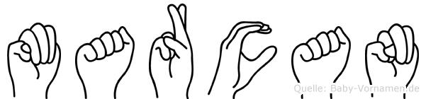 Marcan im Fingeralphabet der Deutschen Gebärdensprache