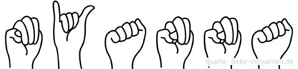 Myanna im Fingeralphabet der Deutschen Gebärdensprache