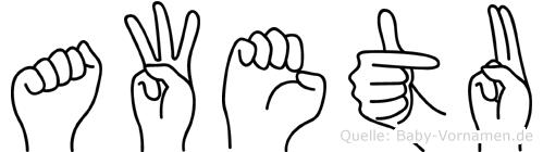 Awetu im Fingeralphabet der Deutschen Gebärdensprache