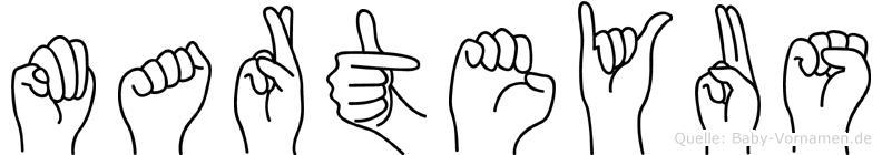 Marteyus im Fingeralphabet der Deutschen Gebärdensprache