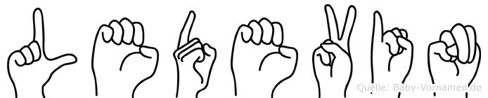 Ledevin im Fingeralphabet der Deutschen Gebärdensprache
