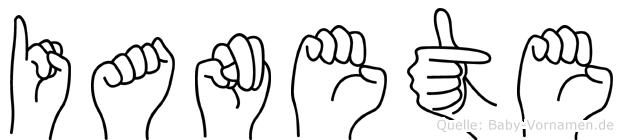 Ianete im Fingeralphabet der Deutschen Gebärdensprache