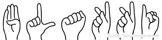 Blakki im Fingeralphabet der Deutschen Gebärdensprache