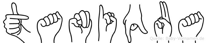 Taniqua im Fingeralphabet der Deutschen Gebärdensprache