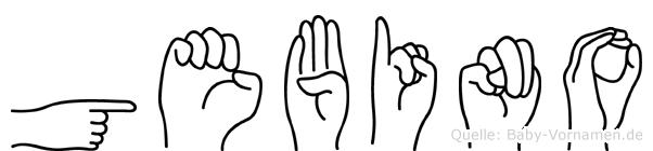 Gebino im Fingeralphabet der Deutschen Gebärdensprache