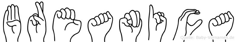 Breanica im Fingeralphabet der Deutschen Gebärdensprache