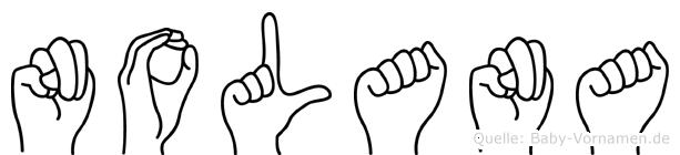 Nolana im Fingeralphabet der Deutschen Gebärdensprache