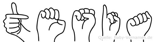 Tesia in Fingersprache für Gehörlose
