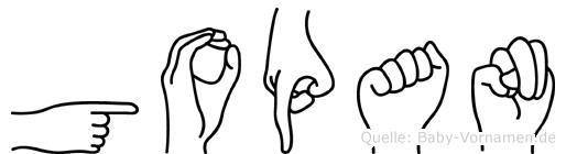 Gopan im Fingeralphabet der Deutschen Gebärdensprache